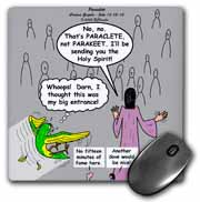 John 16 12 - 15 Jesus discusses sending paraclete which confuses a parakeet Mouse Pad