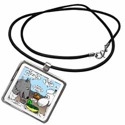 Isaiah 65 17 25 Cheese Tofu Bugers in Paradise Bible earth heaven paradise wolf sheep lamb lion Necklace With Pendant