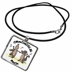 Out to Lunch Cartoon Crocodile Rock Necklace With Pendant
