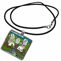 Halloween - Zombie Practical Jokes - Clinton and Nixon Masks Necklace With Pendant
