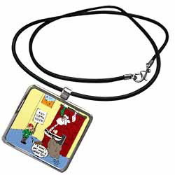 Dale Hunt - Santa Contributes to the Bad Economy Necklace With Pendant