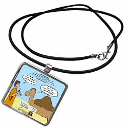 Mark 10-17-31 Stupid Animal Tricks - Camel through the Eye of a Needle Parable Necklace With Pendant