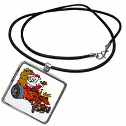 Nelson Deweys Reindeer Powered Santa Dragster Sleigh Necklace With Pendant