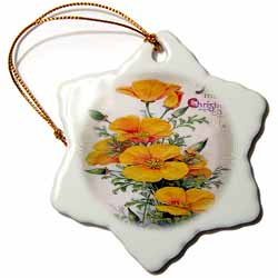 Image of Yellow Christmas Flowers Grayish Silver Decorative Background Ornament