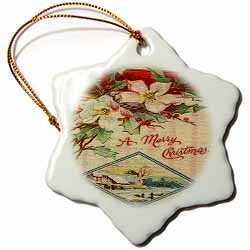 Image White Christmas Flowers and Snow Scene in Mosaic Tiles Texture Ornament
