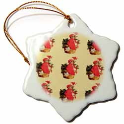 Little Girl in Red Sitting on a Basket of Holly Tiled Image Pattern Ornament