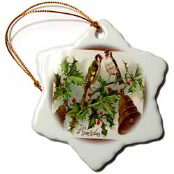 Image of Birds Perched on Holly with Bells and Xmas Wishes Ornament