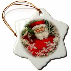 Cameo of Santa Holding Holly and a Pine Tree with Mosaic Tiles Texture Ornament