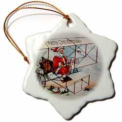 Merry Christmas Santa Flying a Vintage Box Kite Plane Image Ornament