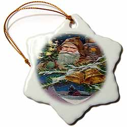 Santa Holding Tree Snow Home Scene Bells Craquelure Texture Image Ornament