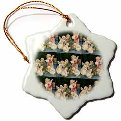 Angel Children Placing Gifts under Outside Christmas Tree Tile Pattern Ornament