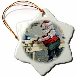 Santa Using Table Saw Making Special Toy in His Workshop Ornament