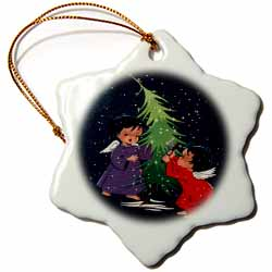 Cartoon of Dark Snowy Night with Two Little Angels and Christmas Tree Ornament