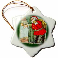 Santa Claus Looking at the Two Sleeping Children Mosaic Pattern Image Ornament