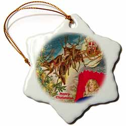 Santa in Deer Guided Sleigh Traveling When Children are Sleeping Ornament
