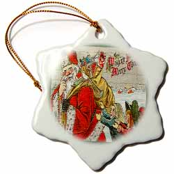 Children Running Behind Santa Claus with Bag of Toys Ornament