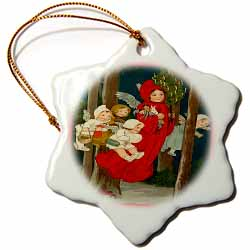 Angel Children All Ages Flying in the Forest with Small Christmas Tree Ornament