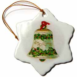 Image of Merry Christmas Bell Ornament Ornament