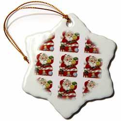 Cartoon of Jolly Santa Claus Holding a Greetings Ball Ornament Pattern Ornament