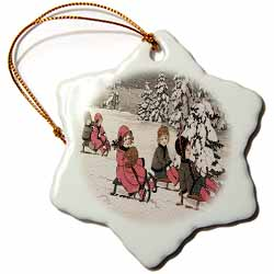 Children Sledding Down Snow Covered Hill with Snow on the Trees Behind Ornament
