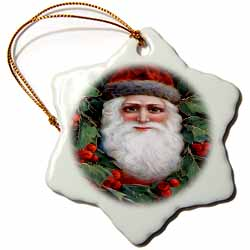 Santa Face Looking Though the Holly Ornament