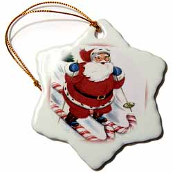 Santa Snow Skiing on Candy Cane Skis  Ornament