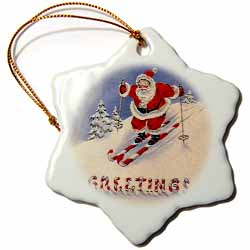 Santa on Candy Cane Skis with Candy Greetings Ornament