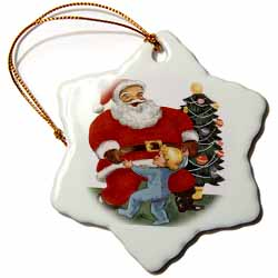 Santa Claus Dancing with Child and Christmas Tree Behind Santa Ornament