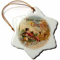 Night Before Christmas Santa in Reindeer Pulled Sleigh Ornament