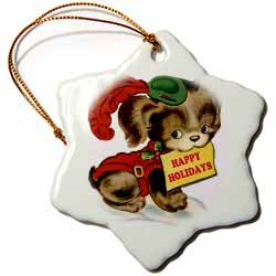 Cartoon Dog in Christmas Costume Wishing Happy Holidays Ornament