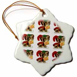 Cartoon Dog in Christmas Costume Wishing Happy Holidays Tiled Pattern Ornament