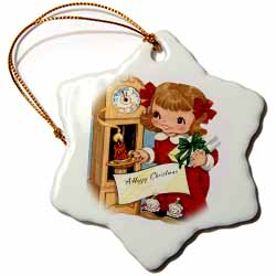 Cartoon Girl Watching the Clock Holds Candle and Christmas Present Ornament