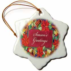 Seasons Greeting with Holly Pine Cones Fruit Colorful Border Ornament