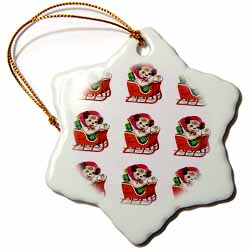 Cartoon Dog in Sleigh with Christmas Package Tiled Pattern Ornament