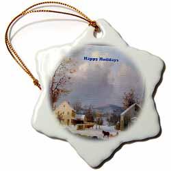 Farm House Horse Drawn Sleigh Snow on Ground Mountain Background Image Ornament