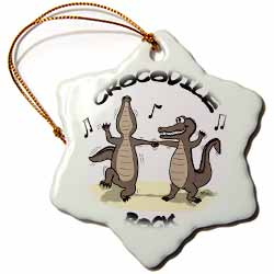 Out to Lunch Cartoon Crocodile Rock Ornament