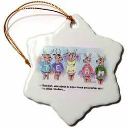 Kevin Edler Cartoon about Rudolphs Troubles for Christmas Ornament