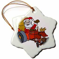 Nelson Deweys Reindeer Powered Santa Dragster Sleigh Ornament