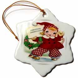 Girl Ice Skating with Christmas Greeting Ornament