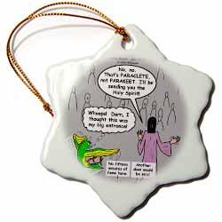 John 16 12 - 15 Jesus discusses sending paraclete which confuses a parakeet Ornament