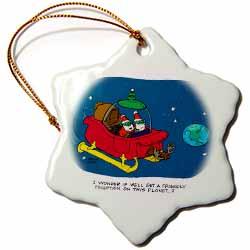 Nelson Dewey - Alien Craft Resembles Santas Sleigh Ornament