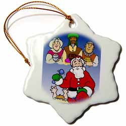 Larry Miller - Tribute to the Baby Jesus by the 3 Wisemen and Santa Ornament
