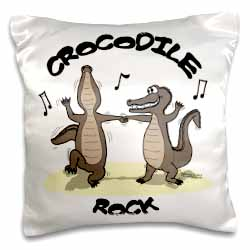 Out to Lunch Cartoon Crocodile Rock Pillow Case
