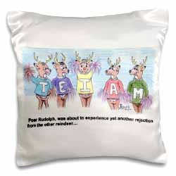 Kevin Edler Cartoon about Rudolphs Troubles for Christmas Pillow Case
