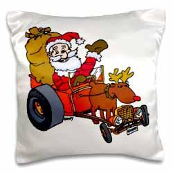 Nelson Deweys Reindeer Powered Santa Dragster Sleigh Pillow Case