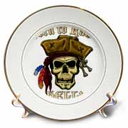PIRATE SKULL WITH Born To Raise Hell Plate
