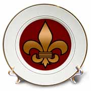 Large Black and Gold Fleur de lis on maroon background Christian Symbol Plate