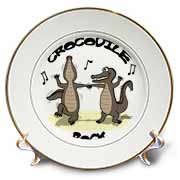 Out to Lunch Cartoon Crocodile Rock Plate