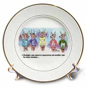 Kevin Edler Cartoon about Rudolphs Troubles for Christmas Plate