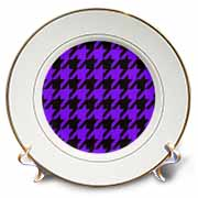 Black and Purple Houndstooth - Large Plate